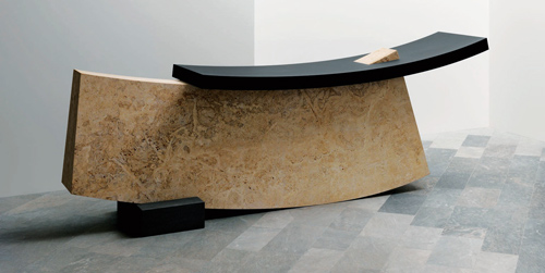 A CURVILINEAR APPROACH TO THE RECEPTION DESK OF THE WALLPAPER HOTEL